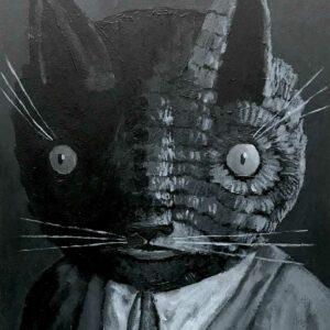 Thiago-Goms-monochrome-man-cat-Art-Avenue